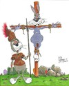 Cartoon: Hot cross bunny (small) by campbell tagged black,humour,easter,rabbit,romans