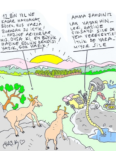 Cartoon: 12 thousand years old lake (medium) by yasar kemal turan tagged 12,thousand,years,old,lake