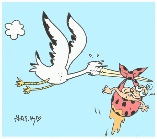 Cartoon: ahhhgh (medium) by yasar kemal turan tagged love,pee,stork,baby