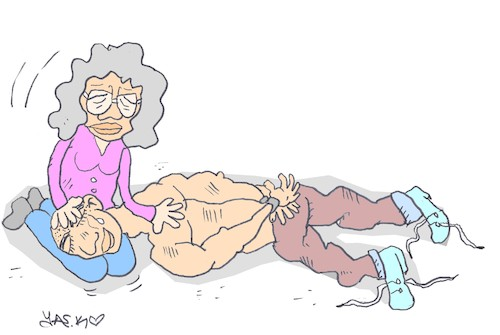 Cartoon: mother s knees (medium) by yasar kemal turan tagged mother,knees