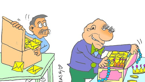 Cartoon: two crate two yellow (medium) by yasar kemal turan tagged two,crate,yellow