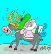 Cartoon: happy birthday (small) by yasar kemal turan tagged deer,happy,birthday,nasreddin,hodja,donkey,noel,love
