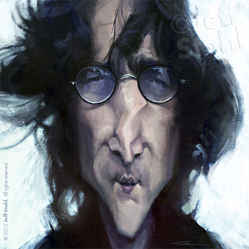 Cartoon: John Lennon by Jeff Stahl (medium) by Jeff Stahl tagged john,lennon,beatles,birthday,tribute,caricature,jeff,stahl