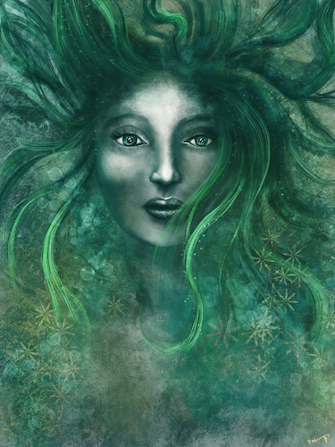 Cartoon: Bruja (medium) by alesza tagged bruja,witch,painting,digital,art,illustration,girl,woman,green,hair,face