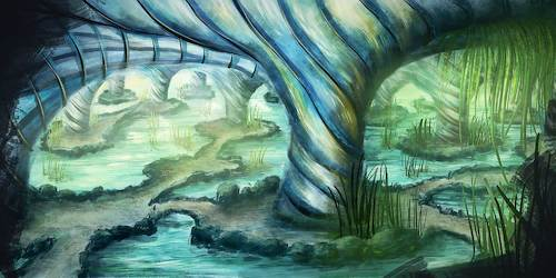 Cartoon: Die Grotte (medium) by alesza tagged digital,digitalart,digitalpainting,grotte,cave,fantasy,environment,freedom,landscape,nature,painting,procreate,ipadart,wanderlust,outdoors,tranquility