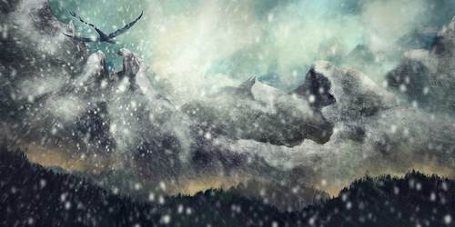 Cartoon: Snowstorm (medium) by alesza tagged digital,painting,illustration,ipad,art,ipadart,mountain,snow,storm,snowstorm,nature,landscape,dramatic