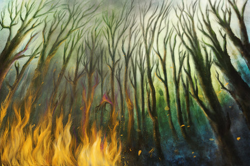 Cartoon: Torn (medium) by alesza tagged fire,forest,landscape,nature,scenery,digital,painting,illustration,drawing,catastrophy,smoke,flames