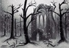 Cartoon: Ancient Monastery (small) by alesza tagged ancient monastery trees digital painting snow nature cemetery