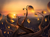 Cartoon: Dusk (small) by alesza tagged digital,painting,dusk,sunset,nature,landscape,floral,fantasy,plants,flowers,illustration,drawing