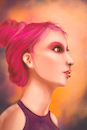Cartoon: Pink (small) by alesza tagged girl portrait pink hair yound people digital art illustration painting