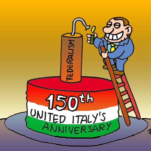 Cartoon: 150th united Italy anniversary (medium) by fragocomics tagged 17th,march,17,nord,lega,federalism,berlusconi,anniversary,italy,united,150,150th,italien,silvio berlusconi,silio,berlusconi,silvio