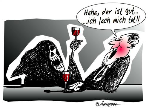 Cartoon: Zum Totlachen (medium) by rpeter tagged tod,bar,mann