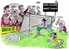 Cartoon: football cartoon (small) by fieldtoonz tagged football,gran,supporters,goal,pitch