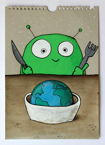 Cartoon: good morning (medium) by stefan hoch tagged good,morning,breakfast,alien,earth,world,welt,frühstück