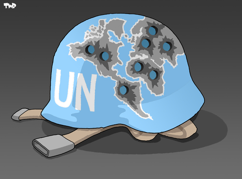 Cartoon: A history of UN intervention (medium) by Tjeerd Royaards tagged un,united,nations,war,conflict,intervention,blue,helmet,new,york,security,counsil,assembly,international,community,member,states,un,united nations,konflikt,krieg,militär,gewalt,waffen,helm,soldaten,new york,united,nations,new,york