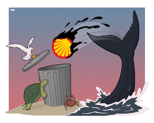 Cartoon: Dump Shell (medium) by Tjeerd Royaards tagged shell,oil,ocean,sea,life,turtle,whale,pollution,clean,shell,oil,ocean,sea,life,turtle,whale,pollution,clean