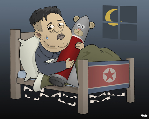 Cartoon: Night Terrors (medium) by Tjeerd Royaards tagged north,korea,kim,jong,un,nuclear,missiles,war,conflict,north,korea,kim,jong,un,nuclear,missiles,war,conflict