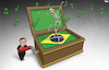 Cartoon: Dance macabre (small) by Tjeerd Royaards tagged bolsonar,brazil,corona,pandemic,death,toll,victims