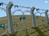 Cartoon: Fortress Europe (small) by Tjeerd Royaards tagged eu,europe,european,union,immigration,euro,illegal,aliens,border,fence