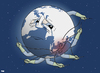 Cartoon: Painful Recovery (small) by Tjeerd Royaards tagged haiyan,philippines,storm,typhoon,aid,relief,money,dollar,victims,death,displaced,homeless,earth,globe,disaster