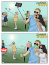 Cartoon: Summer 2020 (small) by Tjeerd Royaards tagged pandemic coronavirus selfie tourism summer vacation holiday