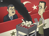 Cartoon: Syria and Turkey (small) by Tjeerd Royaards tagged turkey,syria,assad,erdogan,gul,war,conflict