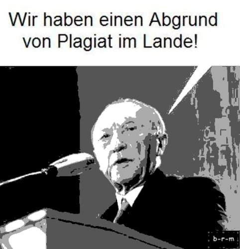 Cartoon: Abgrund von Plagiat (medium) by b-r-m tagged guttenberg,abrund,plagiat,adenauer