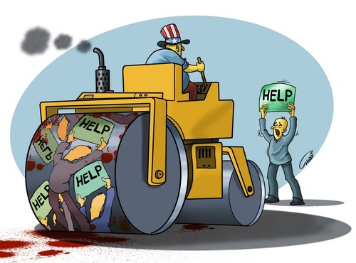 Cartoon: help from the ruthless (medium) by abbas goodarzi tagged usa,american,men,roller,squish,peace,help,uncle,sam,machine