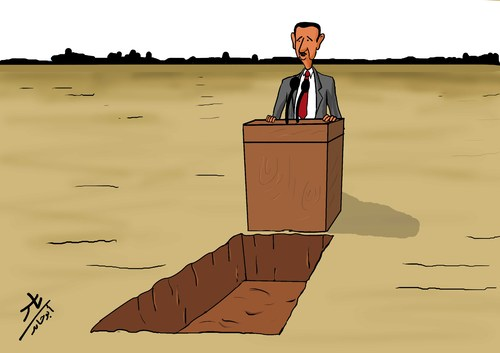 Cartoon: The edge of the grave (medium) by yaserabohamed tagged edge,of,the,grave,bashar,alassad