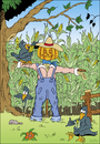 Cartoon: Scarecrow (small) by VoBo tagged scare,crow,farm,farmer,farming,agricultur,birds,field,corn,vogel,vogelscheuche,bauer,mais,krähe,pumpkin,kürbis