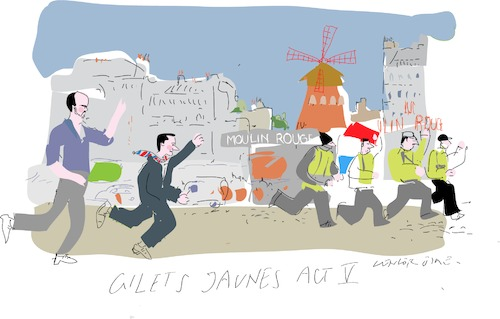 Cartoon: Act 5 (medium) by gungor tagged wwfrance,wwfrance,frankreich,macron,jaunes,proteste,premierminister