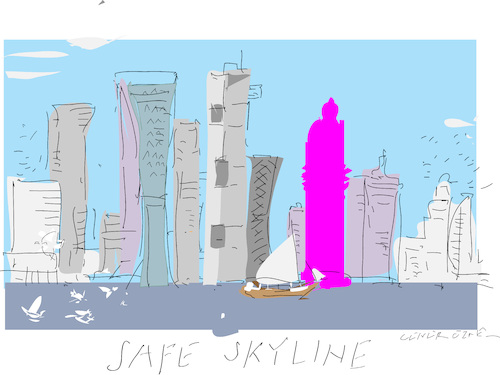 Cartoon: Safe Skyline (medium) by gungor tagged architecture,architecture