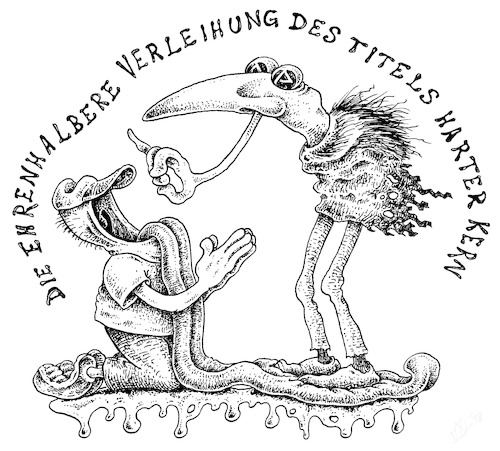 Cartoon: hc hc (medium) by JP tagged hc,titel,ehre,kern,honoris,core,weihe,hc,titel,ehre,kern,honoris,core,weihe