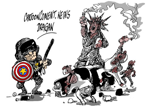 Cartoon: Baltimore-kapitan amerika (medium) by Dragan tagged kapitan,baltimore,amerika,eeuu,estallido,racial,politics,cartoon