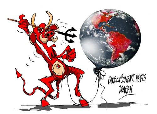 Cartoon: La Tierra-numeros rojos (medium) by Dragan tagged la,tierra,global,footprint,network,wwf,cartoon