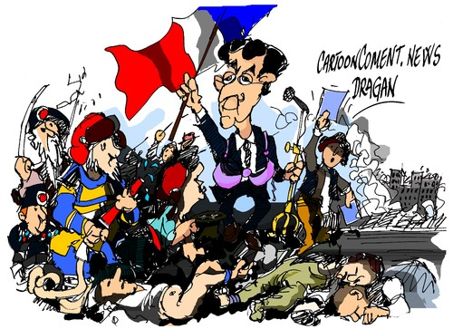 Cartoon: Sarkozy -republicano (medium) by Dragan tagged nicolas,sarkozy,los,republicanos,francia,ump,politics,cartoon