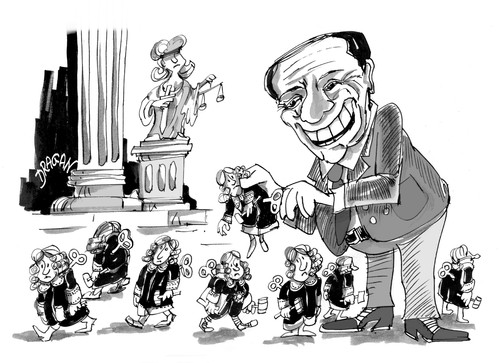 Cartoon: Silvio Berlusconi (medium) by Dragan tagged silvio,berlusconi,ley,alfano,italia,justice,politics,cartoon