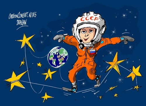 Cartoon: Valentina Tereshkova-medio siglo (medium) by Dragan tagged valentina,tereshkova,rusia,cosmonauta,vostok,cartoon