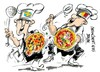 Cartoon: Napoles-Verona-racismo culinario (small) by Dragan tagged napoles,verona,pizza,italia,gambero,rosso