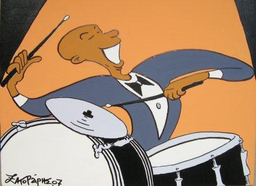 Cartoon: jazz drummer (medium) by johnxag tagged instrument,music,snare,cymbals,jazz,drummer,drums