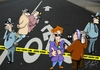Cartoon: crime scene (small) by johnxag tagged bicycle,bike,lane,road,accident,crime,police