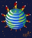 Cartoon: think globally act locally (small) by johnxag tagged earth,planet,save,act