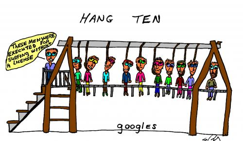 Cartoon: Hang 10 (medium) by Rudd Young tagged ruddyoung,surf,surfing,cartoon,hang,hanging