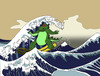 Cartoon: Hokusai vs Godzilla... (small) by berk-olgun tagged hokusai,vs,godzilla