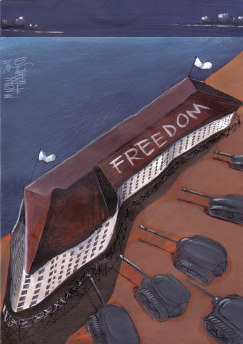 Cartoon: freedom GAZA (medium) by Marian Avramescu tagged mmmmmmmmmm