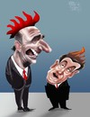 Cartoon: roosters (small) by Marian Avramescu tagged mmmmmmmmmmm