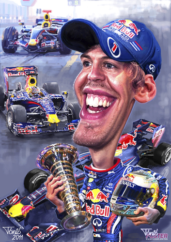 Cartoon: Sebastian Vettel 2011 poster (medium) by Tonio tagged formula1
