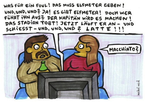 Cartoon: latte (medium) by meikel neid tagged latte,macchiato,tor,pfosten,fußball,fussball,wm,2010,torwart,stürmer,kapitän