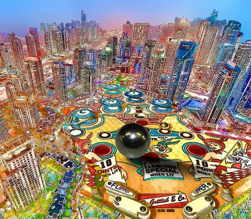 Cartoon: Pinball (medium) by zu tagged pinball,city,colors