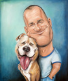 Cartoon: Man with Pitbull (small) by Avel tagged caricature